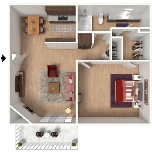 A1 Renovated Floorplan: 1 Bedroom, 1 Bathroom - 672 sqft
