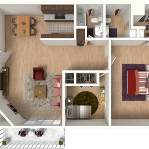 B2 Renovated Floorplan: 2 Bedroom, 2 Bathroom - 960 sqft