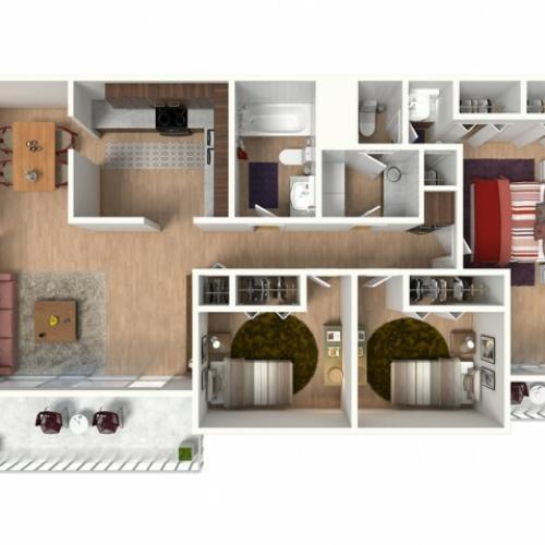 C1 Renovated Floorplan: 3 Bedroom, 2 Bathroom - 1300 sqft