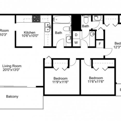 C1 Renovated Floorplan: 3 Bedroom, 2 Bathroom - 1300 sqft