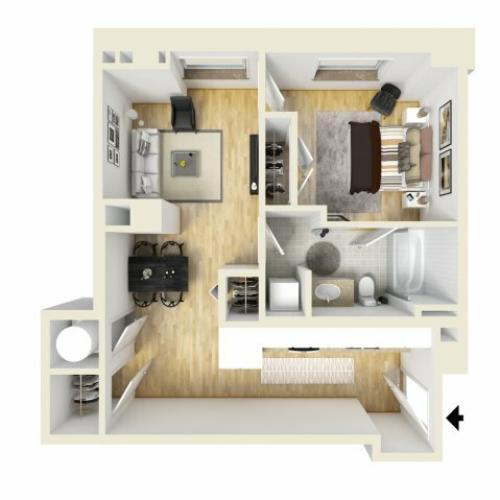 1 Bedroom Floor Plan | The Strand