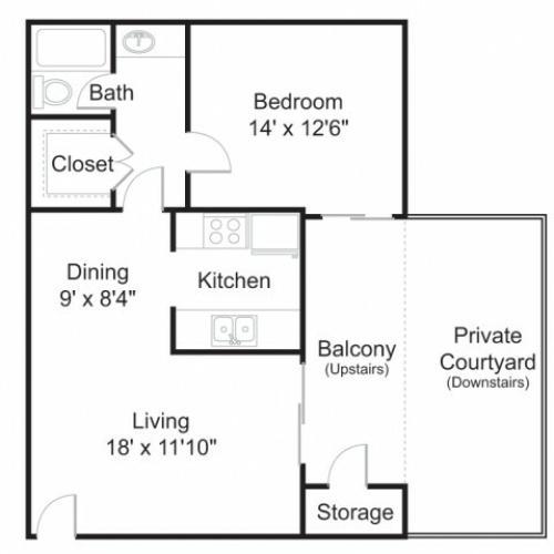 Floor Plan 2 | 1 Bedroom Apartments In Tucson | Brookwood