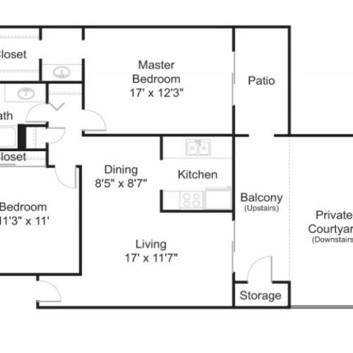 Floor Plan 3 | Tucson Apartments | Brookwood