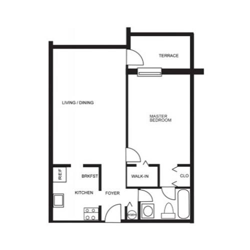 Floor Plan 1 | Hollywood Florida Apartments | Emerald Place