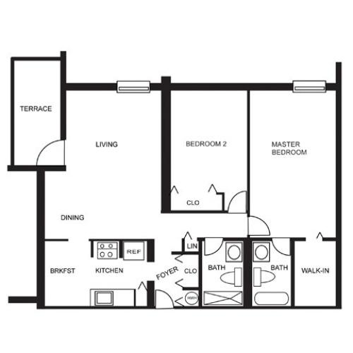 Floor Plan 2 | Studio Apartments For Rent In Hollywood FL | Emerald Place