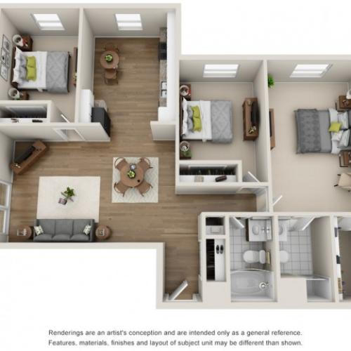 Floor Plan 7   Mount Prospect Illinois Apartments   The Residences at 1550