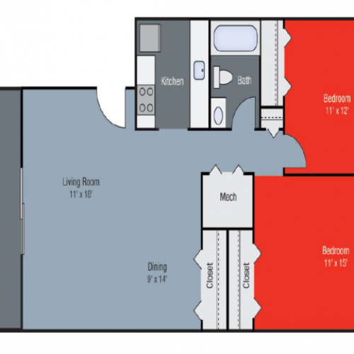 Floor Plan 3 | Apartments for Rent in Lexington KY | Pinebrook Apartments