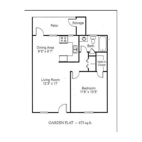 1 Bedroom Floor Plan | Charlotte Apartments | Arcadian Village