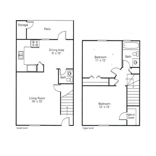2 Bedroom Floor Plan | Apartments in Charlotte NC | Arcadian Village