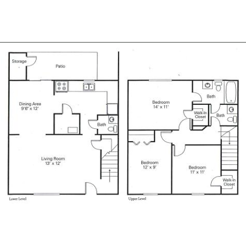 3 Bdrm Floor Plan | Charlotte Rental | Arcadian Village