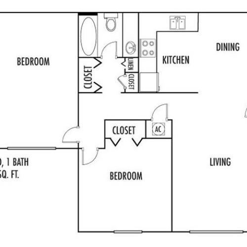 2 Bedroom Floor Plan | Spartanburg SC Rentals | Hidden Park