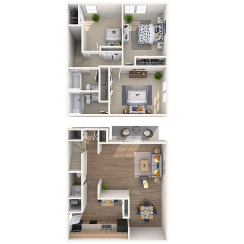 3 Bedroom Floor Plan | Mt Prospect Apartments | The Townhomes at Highcrest