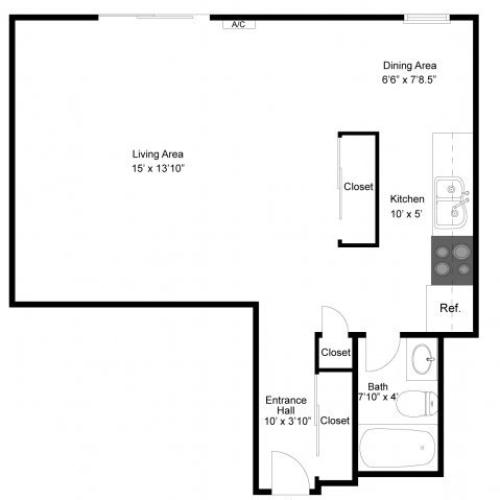 1 Bedroom Floor Plan | Apartments Eagan MN | Lexington Hills