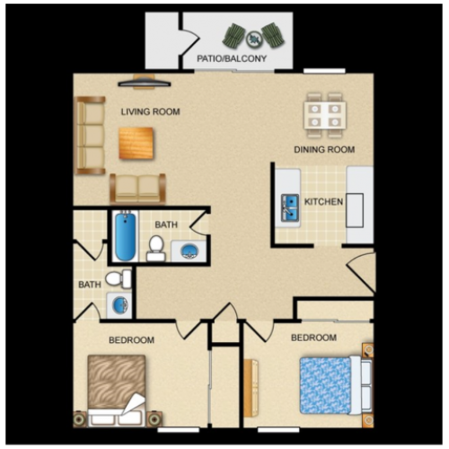 2 Bedroom / 2 Bath