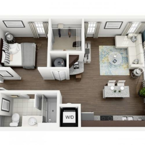 Image of Aspire floorplan, an open concept 619 sq. ft. studio apartment at The Marq