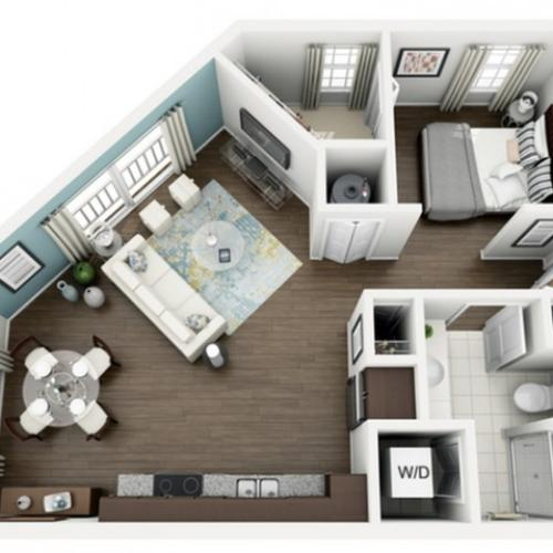 Image of Allure floorplan, an open concept 673 sq. ft. studio apartment at The Marq