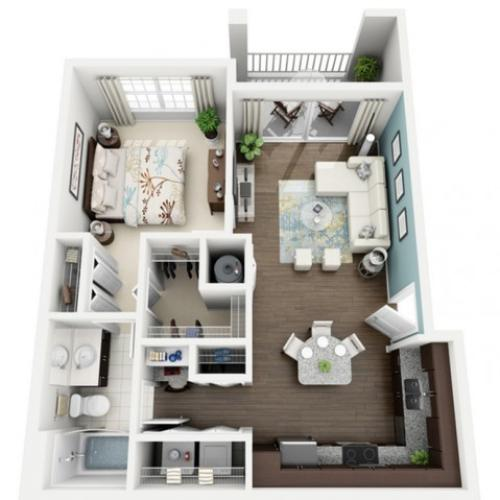 Image of Allegre floorplan, an open concept 1 bedroom, 1 bathroom 727 sq. ft. apartment at The Marq