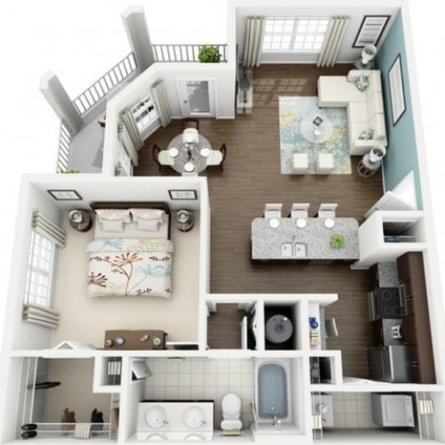Image of Aura floorplan, an open concept 1 bedroom, 1 bathroom 860 sq. ft. apartment at The Marq