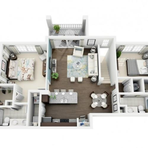 3D Image of Excite floorplan, an open concept 2 bedroom, 2 bath 1,121 sq. ft. apartment at The Marq