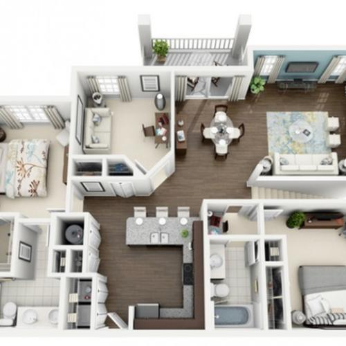 3D Image of Rhapsody floorplan, an open concept 3 bedroom, 2 bath 1,358 sq. ft. apartment at The Marq