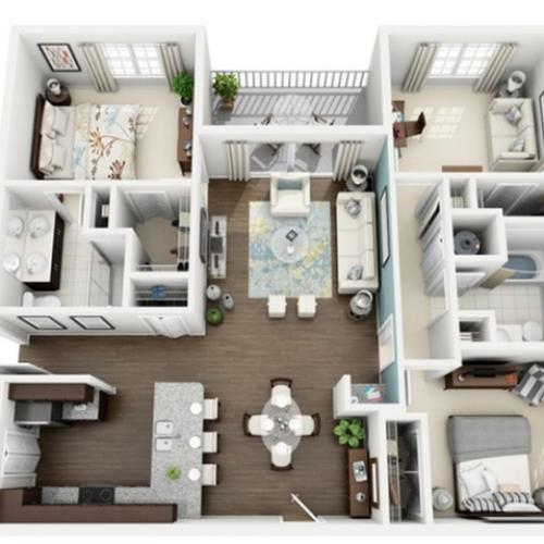 3D Image of Radiant floorplan, an open concept 3 bedroom, 2 bath 1,306 sq. ft. apartment at The Marq