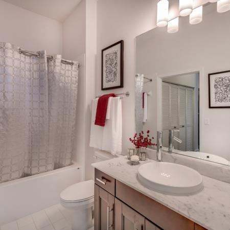 Image of apartment bathroom marble counter top and modern fixtures