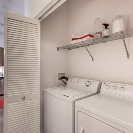 Image of washer and dryer included with apartment at The Marq