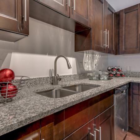 Image of apartment granite counter top and custom cabinetry at The Marq