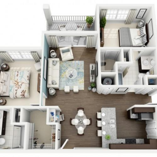 3D Image of Elate floorplan, an open concept 2 bedroom, 2 bath 1,113 sq. ft. apartment at The Marq