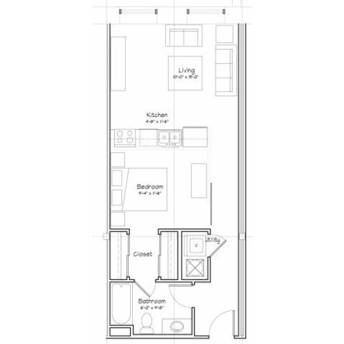 0X1-S3 Floor Plan | Studio with 1 Bath | 556 Square Feet | Alpha Mill | Apartment Homes
