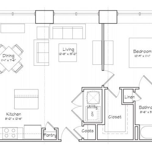 1X1-A1 Floor Plan | 1 Bedroom with 1 Bath | 610 Square Feet | Alpha Mill | Apartment Homes