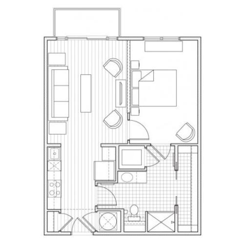 1X1-A3 Floor Plan | 1 Bedroom with 1 Bath | 667 Square Feet | Alpha Mill | Apartment Homes