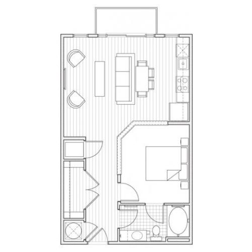 1X1-A4 Floor Plan | 1 Bedroom with 1 Bath | 682 Square Feet | Alpha Mill | Apartment Homes
