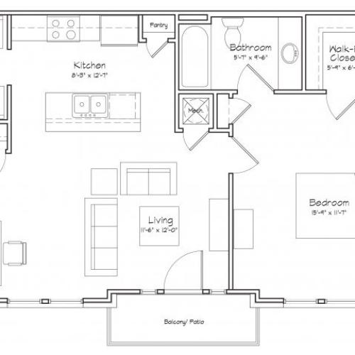 1X1-A5 Floor Plan | 1 Bedroom with 1 Bath | 691 Square Feet | Alpha Mill | Apartment Homes