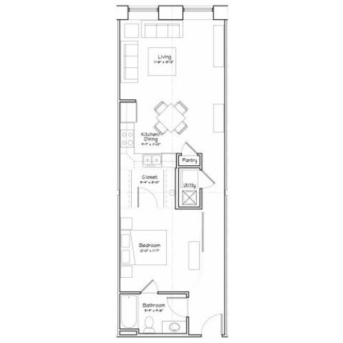 1X1-A6 Floor Plan | 1 Bedroom with 1 Bath | 694 Square Feet | Alpha Mill | Apartment Homes