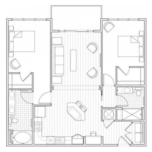 2X2-B8 Floor Plan | 2 Bedroom with 2 Bath | 1156 Square Feet | Alpha Mill | Apartment Homes