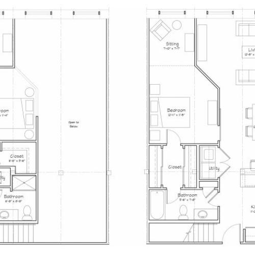 2X2-B9L Floor Plan | 2 Bedroom with 2 Bath | 1162 Square Feet | Alpha Mill | Apartment Homes