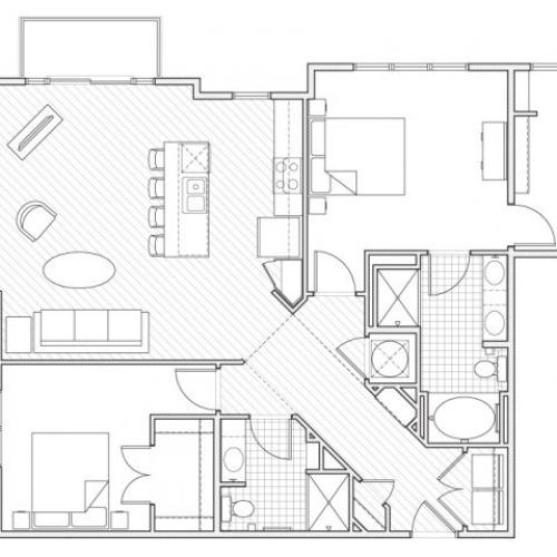 2X2-B11 Floor Plan | 2 Bedroom with 2 Bath | 1264 Square Feet | Alpha Mill | Apartment Homes