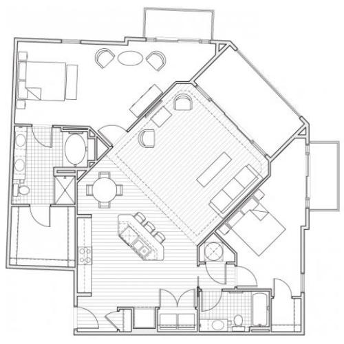2X2-B14 Floor Plan | 2 Bedroom with 2 Bath | 1581 Square Feet | Alpha Mill | Apartment Homes