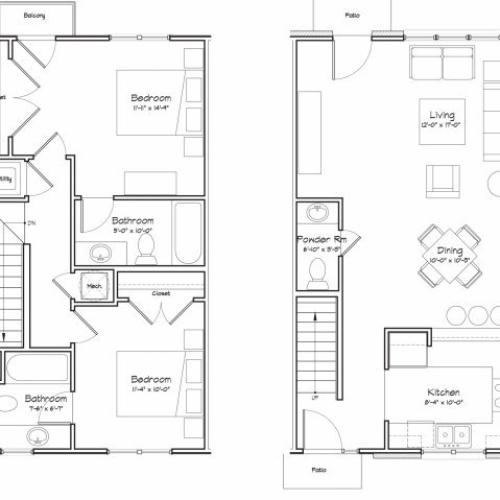 2X2.5-B15TH Floor Plan | 2 Bedroom with 2.5 Bath | 1037 Square Feet | Alpha Mill | Apartment Homes