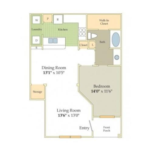 Chelsea Floor Plan | 1 Bedroom with 1 Bath | 810 Square Feet | Cason Estates | Apartment Homes