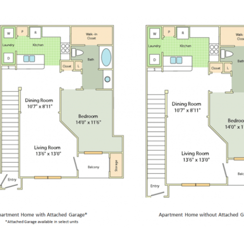 Image of the Dunston floorplan, an open concept 1 bedroom, 1 bathroom apartment at Cason Estates
