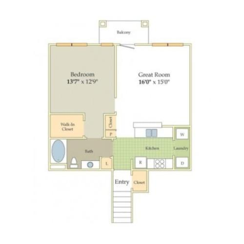 Fritwell Floor Plan | 1 Bedroom with 1 Bath | 893 Square Feet | Cason Estates | Apartment Homes