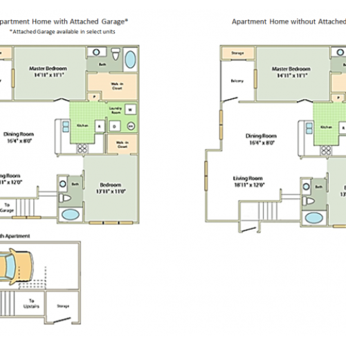 Image of the Hathaway floorplan, an open concept 2 bedroom, 2 bathroom apartment at Cason Estates