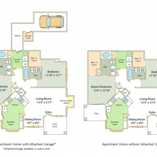 Image of the Stoneleigh floorplan, an open concept 2 bedroom, 2 bathroom apartment at Cason Estates