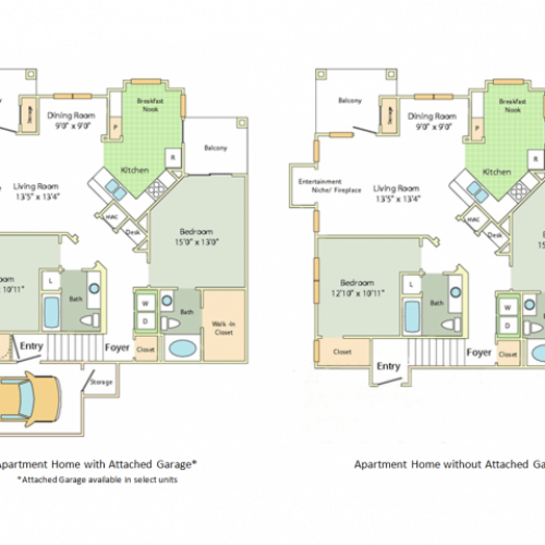 Image of the Pembury floorplan, an open concept 2 bedroom, 2 bathroom apartment at Cason Estates
