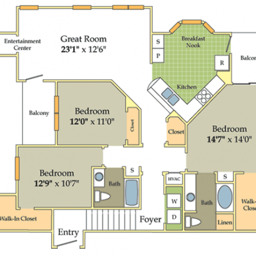 Image of the Yorkshire floorplan, an open concept 3 bedroom, 2 bathroom apartment at Cason Estates