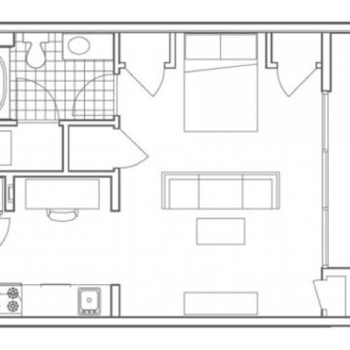 S3 Bedford Studio Apartment Floorplan at 935M