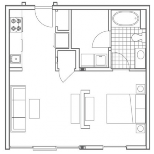 A1 Ferst Floor Plan | Studio with 1 Bath | 585 Square Feet | 935M | Apartment Homes