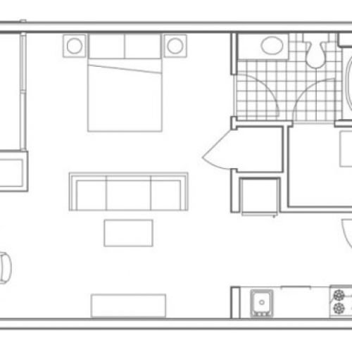S4 Hemphill Studio Apartment Floorplan at 935M